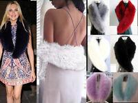 Womens Faux Fur Collar Hood Trim Scarf Fluffy Winter Shawl Wrap Stole Scarfs UK