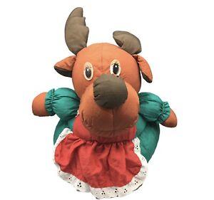 "Vtg Christmas Reindeer RARE 12"" PUFFALUMPS Green Holiday Storage Basket 1980s"