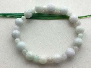 Certified Natural A Grade 10mm Jadeite Carving Lotus beads Women Bracelet 7624