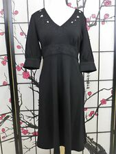 NWT Cynthia Steffe Size M Long Black Wool  Dress Embroidered Cut Outs Orig $305