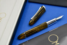 OMAS 360 Burkina Celluloid w/ 925 Sterling Silver Trim Fountain Pen 14k F Nib