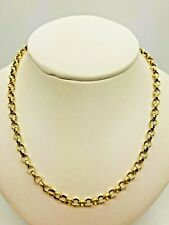 "9ct Yellow Solid Gold Round Belcher Chain - 22"""
