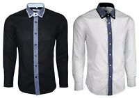 Mens Double Collar Button Down Shirt with Stripe Long Sleeve 254