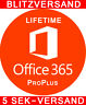 Microsoft Office 365 ProPlus Account Lizenz A1 Vollversion 5 PC / Mac LIFETIME