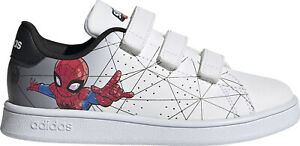 Adidas Advantage C Bambino Spiderman Scarpe Sportive a Strappo Sneaker Bianche