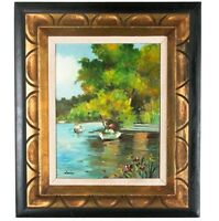 """""""Courting in the River"""" by Lerin, Framed Oil on Board, 16"""" x 12"""""""