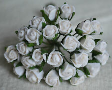 48 WHITE SEMI-OPEN ROSE BUDS Mulberry Paper for wedding miniature cardmaking
