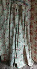 Vintage 1970s roses floral faux Patchwork Fabric Curtains 144.5cmL x 170cmW old