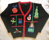 VTG Ugly Christmas L Cardigan Sweater Red Black Jingles Sequin Mistletoe Candy