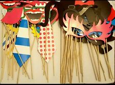 PACK OF 58 PHOTO BOOTH SELFIE PROPS ON STICK WEDDINGS BIRTHDAY XMAS PARTY FUN UK