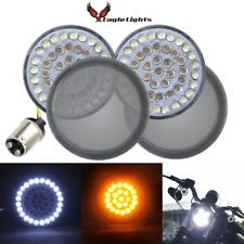 """Eagle Lights 2"""" LED Front Harley Davidson Turn Signals w Halo DRL & Smoke Lenses"""