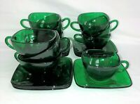 10 Fire King CHARM * GREEN * SQUARE CUPS & SAUCERS*