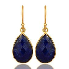 Natural Lapis Lazuli 18K Gold Plated 925 Sterling Silver Dangle Gemstone Jewelry