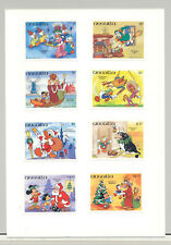 Anguilla #596-602, 604 Disney Christmas 8v Imperf Proofs on Card