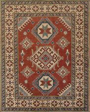 Geometric Kazak Rug, 4'x5', Red/Beige, Hand-Knotted Wool Pile