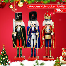 38CM Large Painted Christmas Holiday Nutcracker Soldier Wooden Xmas Gifts  *#