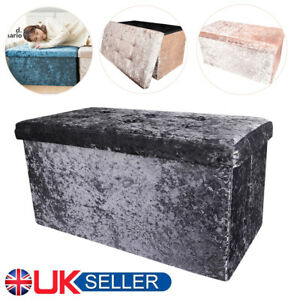 2 Seater Quilted Top Folding Storage Ottoman Seat Toy Storage Box Crushed Velvet
