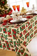 "CHRISTMAS FLORAL HOLLY BEIGE 4 - 6 PLACE RECTANGULAR TABLECLOTH 52"" X 70"""