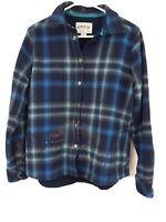 Men's ORVIS Flannel Shirt Jacket Fleece Lined Snaps Blue Plaid Size Medium WORK