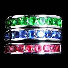 3 RING SET_BLUE_GREEN_RED  CZ WEDDING BAND_SZ-6__925 STERLING SILVER