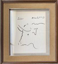 Original vintage ink on paper!Pablo Picasso hand signed-framed! #BULL