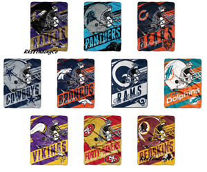 "NFL Deep Slant Micro Super Plush Throw Roll Blanket 46"" x 60"""