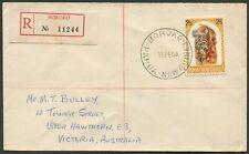 PAPUA NEW GUINEA: BOROKO: 1965 Feb.16 reg'd to Australia bearing 2/5 Myths tied
