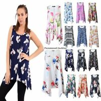 Ladies Women Sleeveless Hanky Hem Printed Scoop Neck Long Vest Top Tunic (8-26)