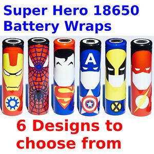6 X 18650 Battery Wraps - Super Hero Style - 6 Designs Heat Shrink PVC Sleeves
