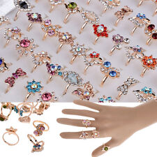 10/20/50pcs Wholesale Mixed Lots Jewelry Crystal Stainless Steel Women's Rings
