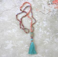 NEW Anthropologie ROSE Quartz TURQUOISE Stone Long TASSEL Mala Prayer Necklace