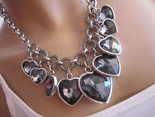 Damen Collier Damen Hals Kette kurz Modekette Kristall Herzen Silber Schwarz h55