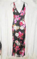 DOLCE & GABBANA Black Floral Stretch Silk Maxi Dress 42 6 $2400