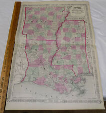 1864 Johnson's Hand-Color Map/Arkansas, Mississippi, Louisiana/18x26�