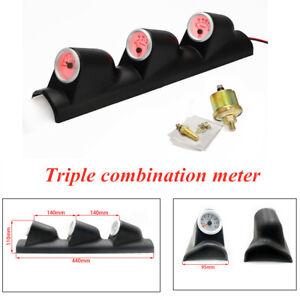 Car Triple Instrument Kit 3 In 1 Speed Water Temperature Oil Pressure Gauge