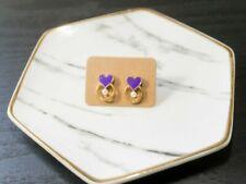 Handcrafted Elegant Korean Style Dangling Earring Heart for Women (Purple)