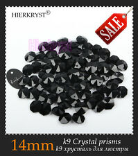 100 Black Chandelier Glass Crystals Lamp Garland Octagon Beads Connectors 14mm