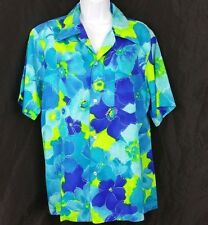 Vtg Pomare Hawaiian Aloha Shirt Barkcloth Floral Blue Yellow Flowers tropical