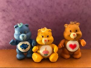 """Vintage 1980's Care Bears 3"""" PVC Poseable Figures Kenner Lot of 3"""