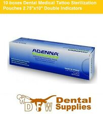 """10 boxes Dental Medical Tattoo Sterilization Pouches 2.75""""x10"""" Double Indicators"""