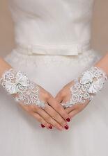 White Enchanting Lace Bow Diamond Flower Gloves wedding Bridal Holy Communion