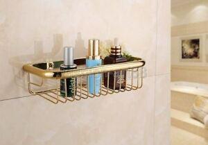 Gold Polished Brass Wall Mounted Bathroom Shower Storage Basket 300mm fba095