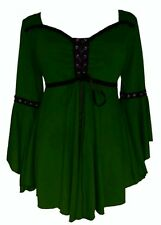 New Green Medieval Gothic Lace Up Corset Front Blouse Top size 2XL 16 18 20 22