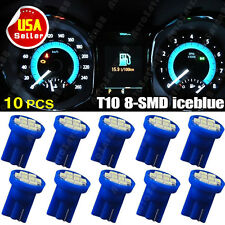 10X Ice Blue T10 LED 8-SMD Wedge Side Instrument Panel Light W5W 158 192 2825