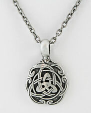 "Antiqued Pewter Celtic Triad Knot 39 X 25 mm Necklace 20"" Antiqued SP Chain"