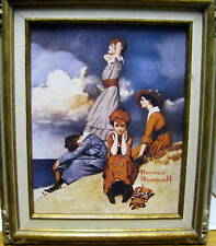 New Norman Rockwell Waiting On The Shore Reproduction Print Canvas Painting