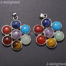 Natural Mixed Gemstones Healing Silver Plated Reiki Chakra Flower Pendant Beads