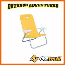 OZTRAIL NEWPORT RECLINING BEACH CHAIR - YELLOW - LOW BEACH POOL CAMPING CHAIR