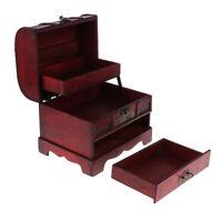 MagiDeal Retro Lock Jewelry Box w/ Flower Design Wooden Storage Case 22x16cm