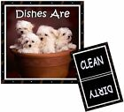 DOG DISHWASHER MAGNET (Maltese Puppies) - Clean/Dirty *Ship FREE